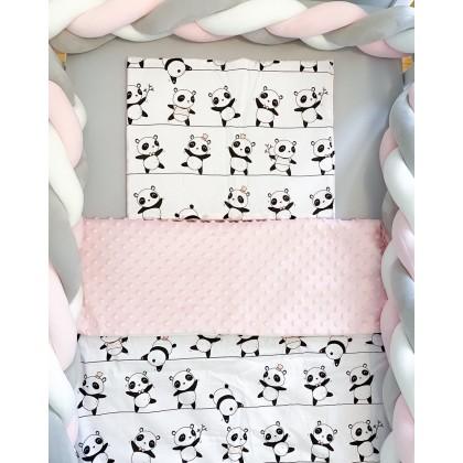 Parure de lit avec rembourrage - Pandas Roses