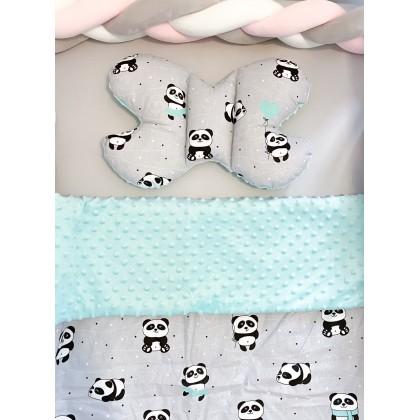 Parure de lit avec rembourrage - Pandas Menthes